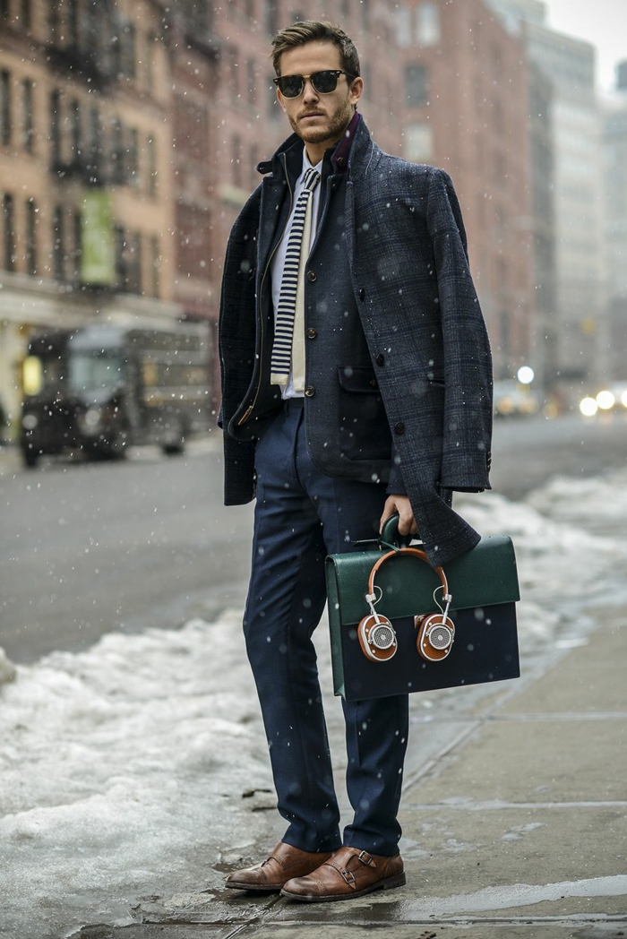 business casual outfits, grey chequered winter coat, over dark woolen blazer, and navy trousers, business casual outfits, worn by man with sunglasses, holding black briefcase