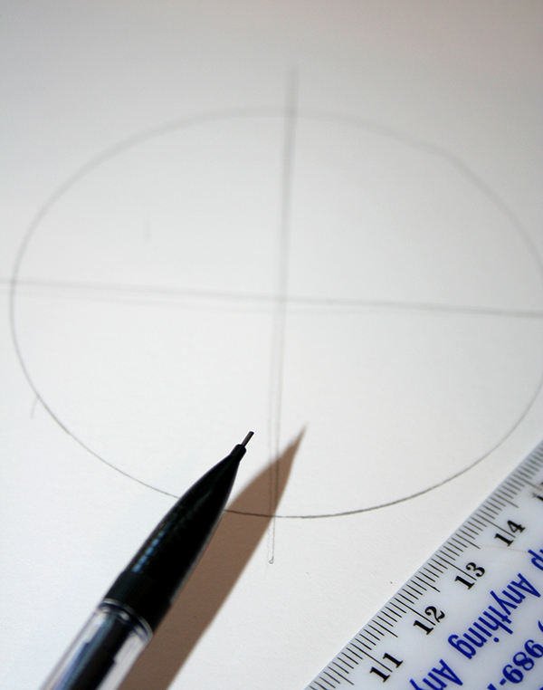 circle with two crossed lines, drawn in pencil on a white piece of paper, craft ideas, plastic ruler and mechanical pencil
