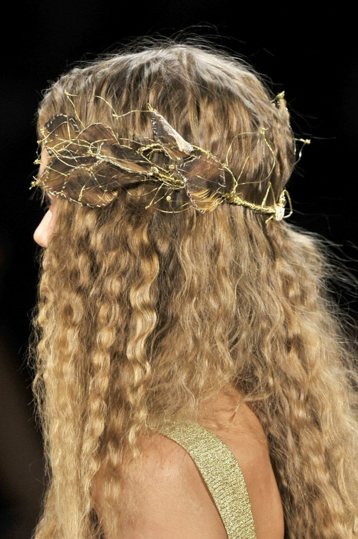 medieval times hair, blond natural curly hair, decorated with a crown made of golden wire