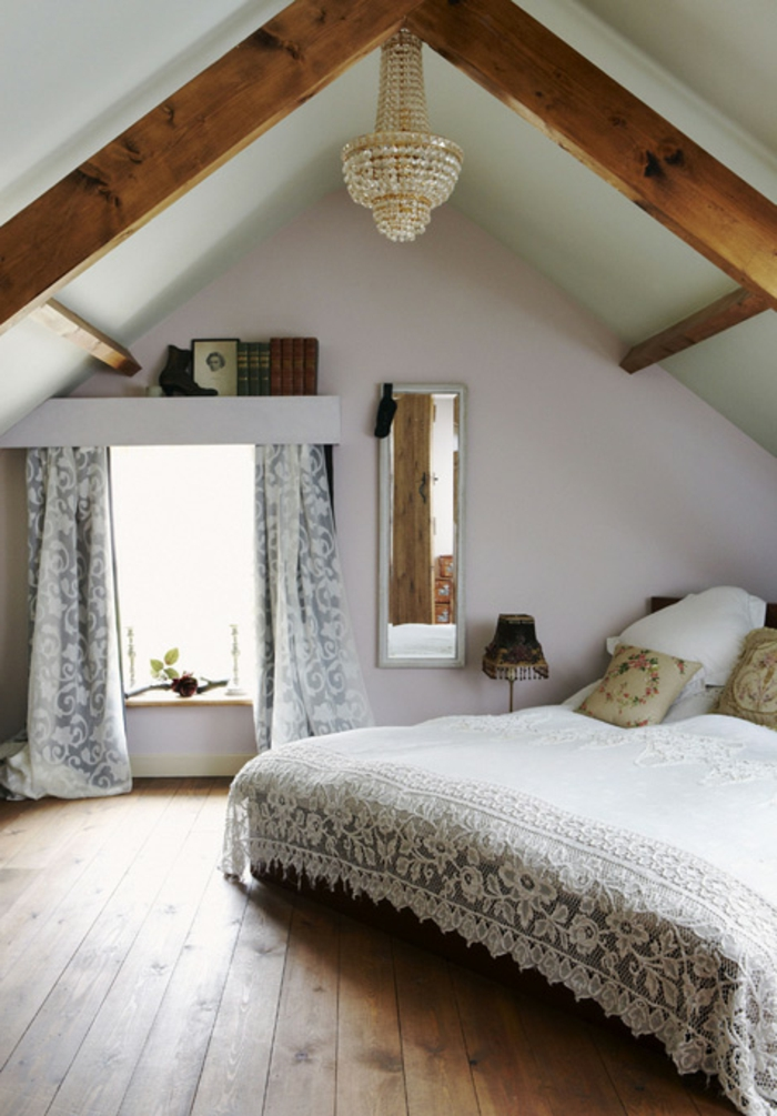 curtain ideas, vintage looking room, wooden beams on ceiling, bed with white lace cover, window with pale grey and white curtains