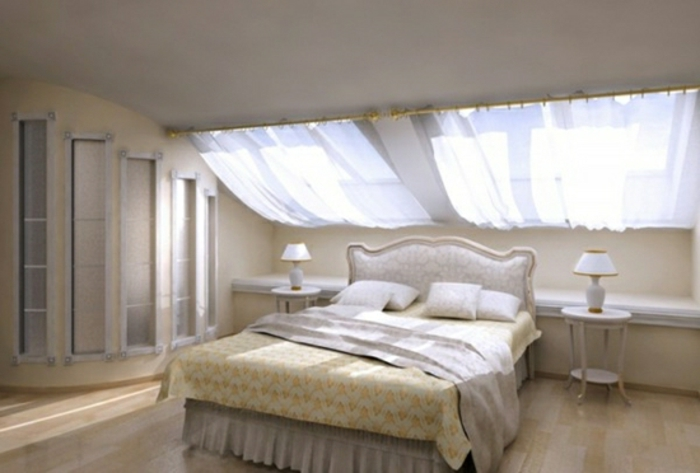 bedroom curtains, classically furnished bedroom, with light bed and furniture, two sloping windows, with sheer white curtains