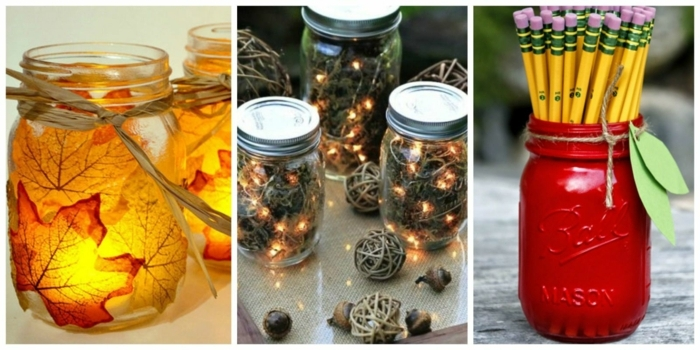 mason jar decorations, a lantern jar decorated with autumn leaves, three jars containing lit fairy lights and moss, jar painted in red, made to look like an apple, with pencils inside