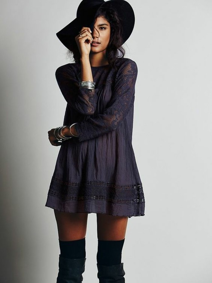 women outfits, dark purple tunic dress, with lace details, worn by brunette with large dark hat, wearing black over the knee socks, and dark green boots