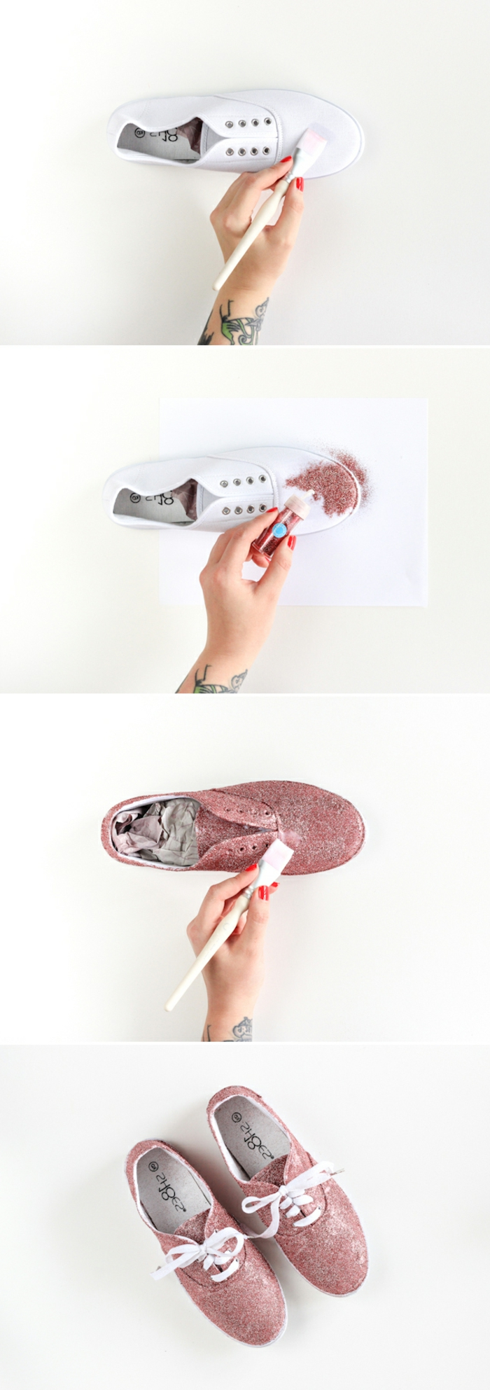 customized white canvas sneaker, homemade crafts, hand putting clear glue with brush, adding pink glitter