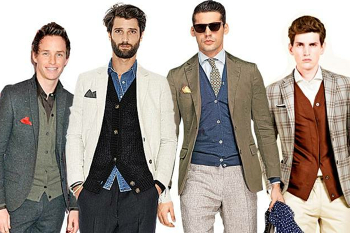 four examples of business casual outfits, grey two-piece suit, with cardigan and shirt, blazers in white, khaki and plaid, sunglasses and handkerchiefs