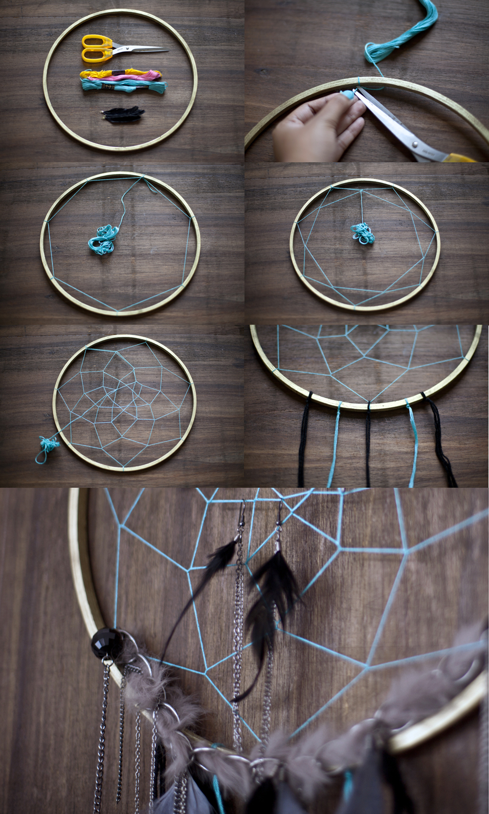 materials needed for making a dream catcher, scissors and thread in different colors, small wooden hoop and feathers, art and craft ideas, photos showing how to make a dream catcher