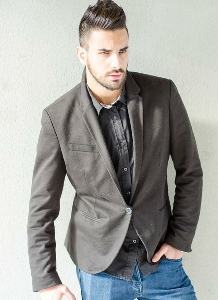 serious bearded man, with gelled up hair, wearing grey blazer, over shirt in a similar color, business casual outfits, combined with jeans