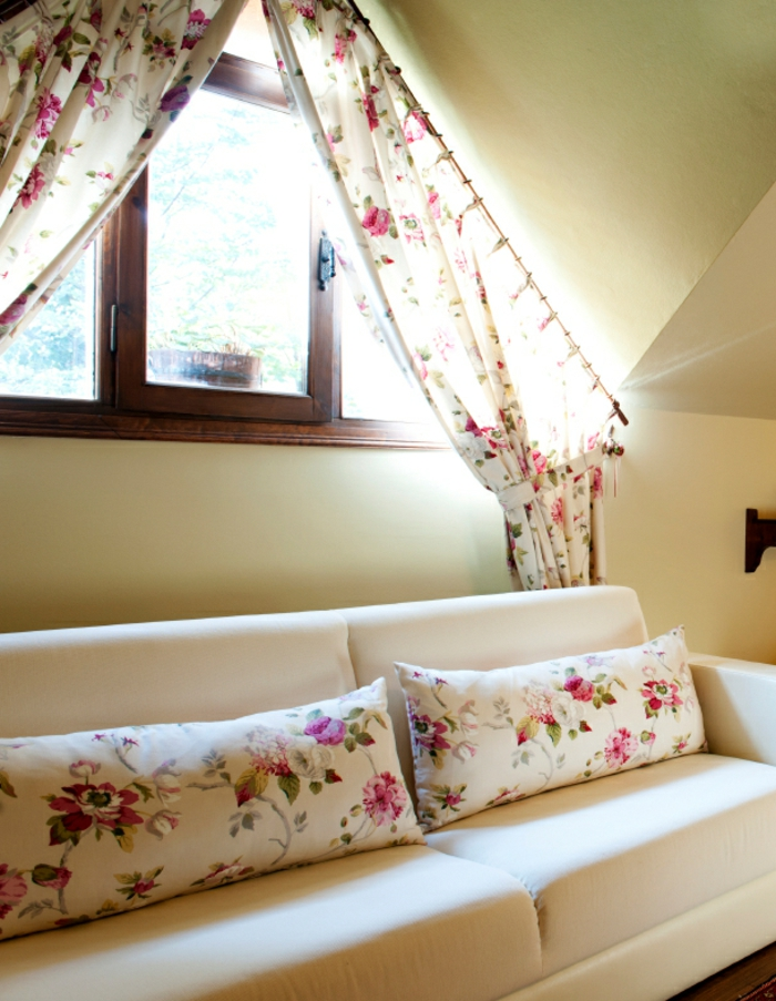 window treatment ideas, white sofa with floral cushions, near wooden gable window, with matching curtains