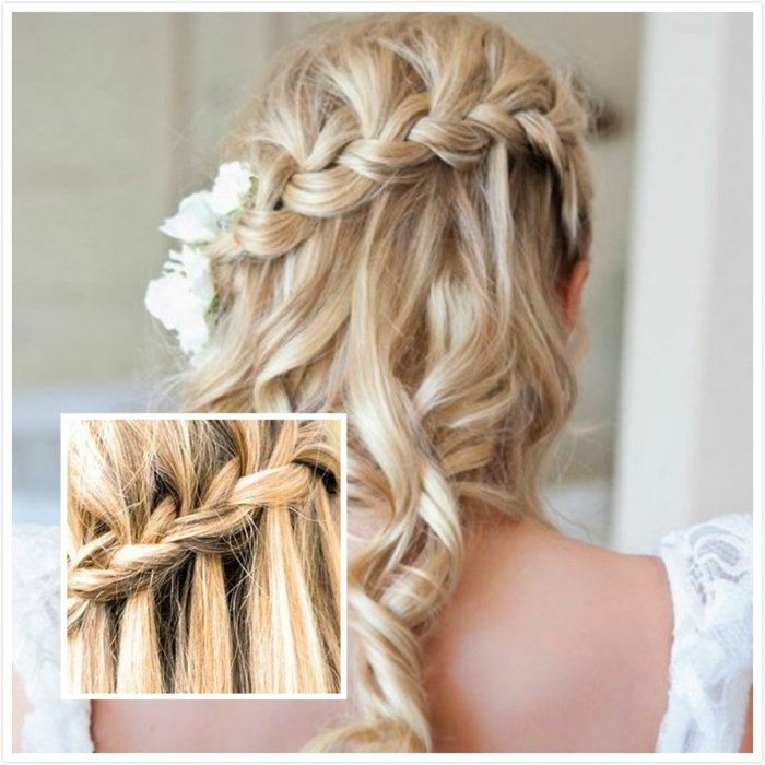 middle age hairstyles, blonde curled hair, with a single side braid, decorated with white flowers, close up shows the braid's pattern