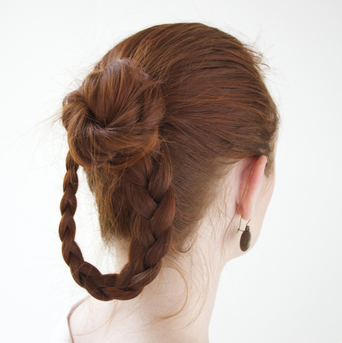 medieval hairstyles, dark red hair, with a hoop-like braid, and a simple hair knot