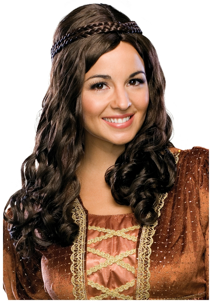 smiling woman dressed like a medieval lady, brown wig with curly ends, two rows of plaids at the top, shiny brown dress, with gold details and lace, renaissance braided hairstyles