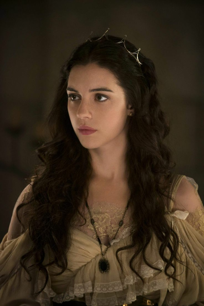 medieval times hair, brunette with dark curly hair, wearing a minimalist silver crown, and a beige dress, with frills and lace