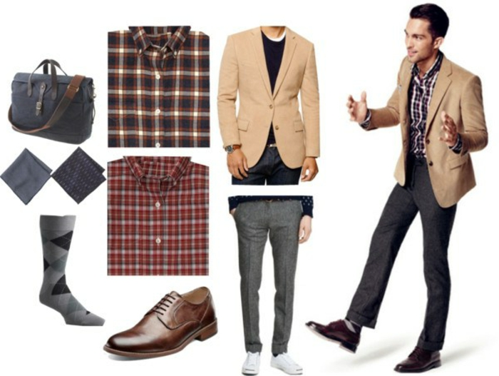 cream blazer and grey carrot pants, two plaid shirts, brown business casual shoes, handkerchiefs and socks, blue and brown bag, near smartly dressed man