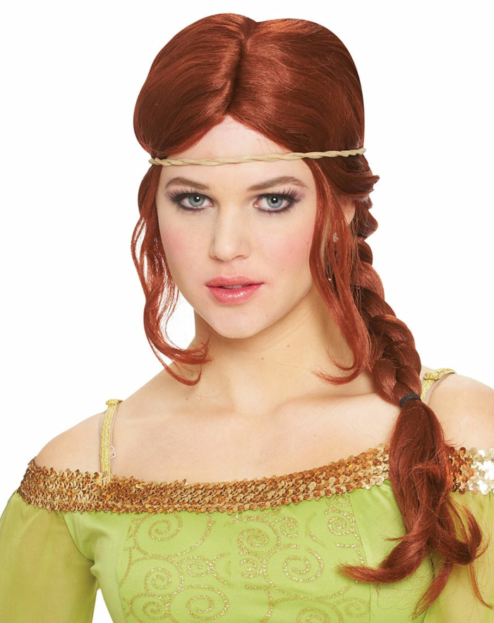 renaissance braids, woman in theatrical make-up, wearing red wig, with one braid over her shoulder, a twisted diadem and pale green dress, with gold sequins