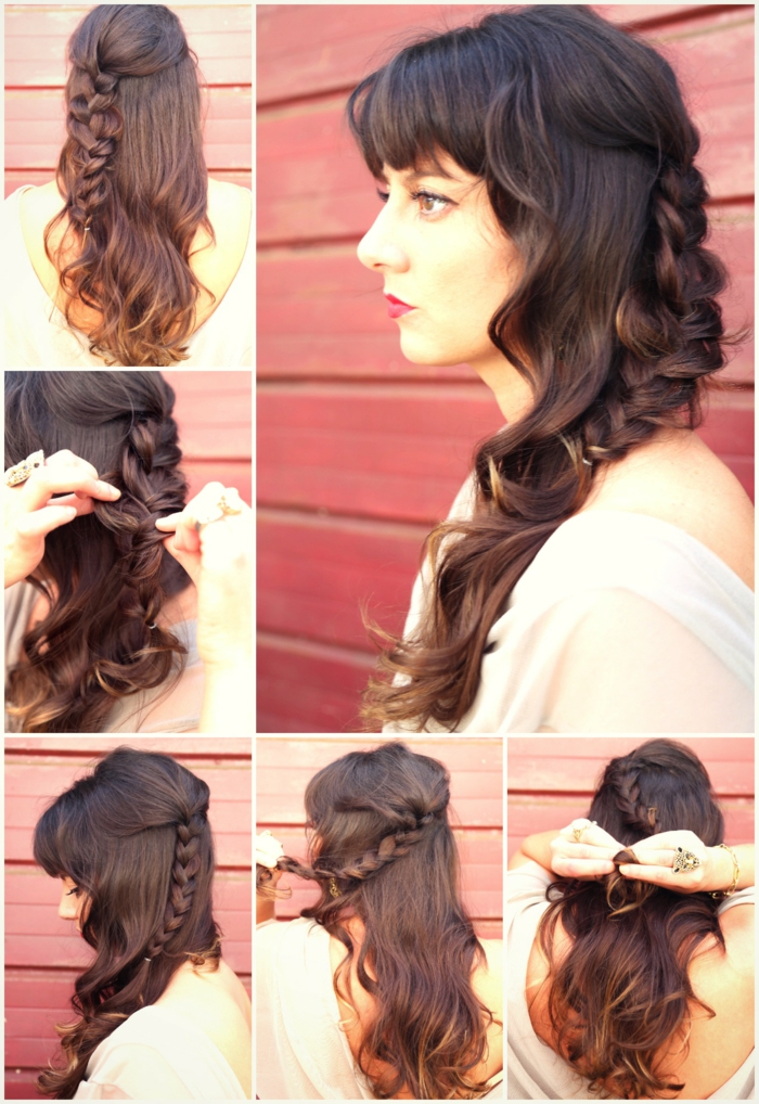 renaissance braids, tutorial showing how to make a messy-half braid, in five easy steps, brunette hair with bangs