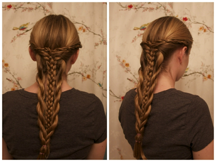 renaissance hairstyles, dark blonde hair, braided in a complex style, with several differently sized braids, coming together in the middle