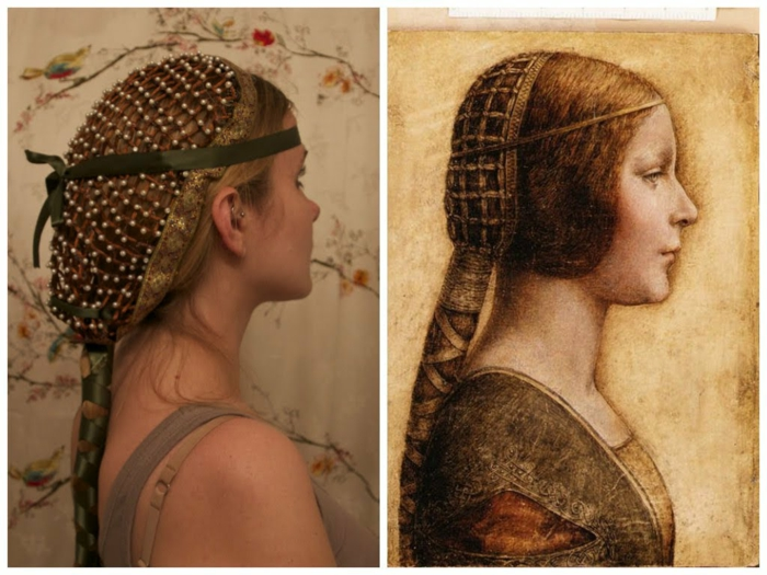 renaissance hairstyles, young woman with hairnet, decorated with pearls and gold, hair woven in green ribbon, next to to her is a medieval painting of a woman, with a similar headdress