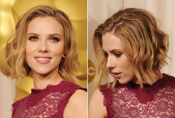 scarlett johansson in dark red sleeveless lace top, with blonde curly, shoulder length bob, seen from two angles