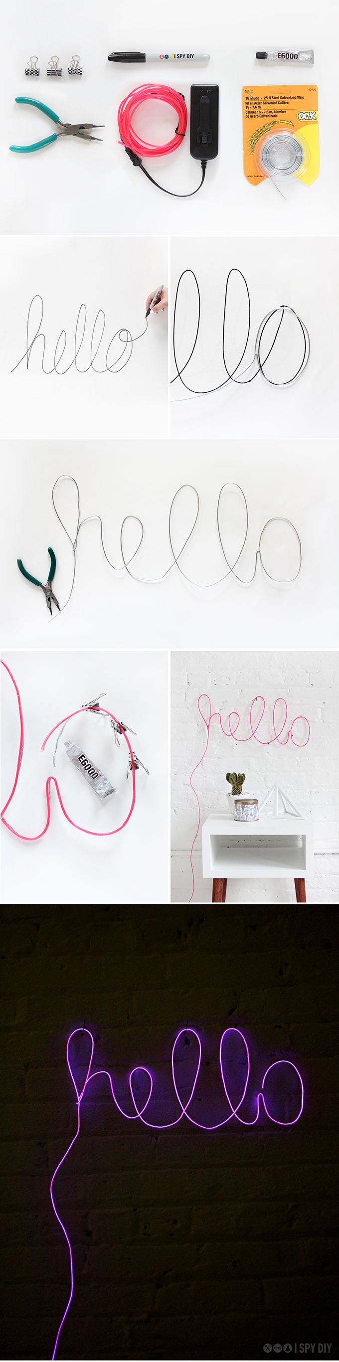 bulldog clips and a 3D marker, glue and pliers, light-up neon pink cord, and some wire, diy shining hello sign