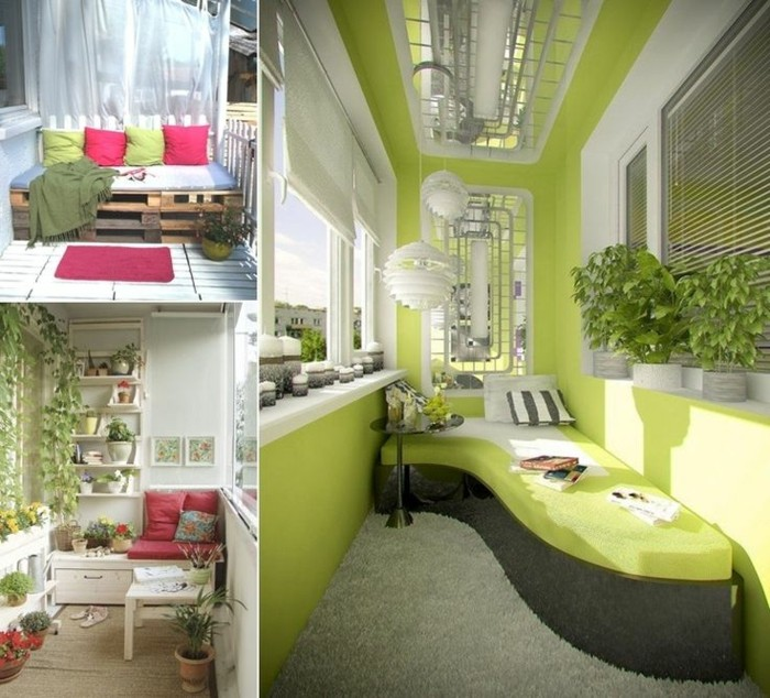 three ideas for balcony decoration, settee made of wooden pallets, with colorful cushions and rug, green lounging area with potted plants, white shelves with plants, near table and cushions