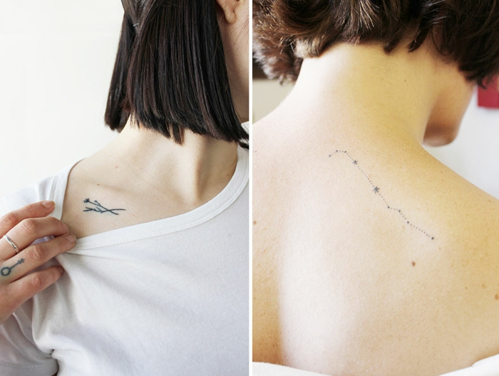 flower tattoo designs, three minimalist tattoos, two tiny and thin flowers on a woman's collar bone, a small ring finger tattoo, a simple dotted constellation tattoo on a woman's back