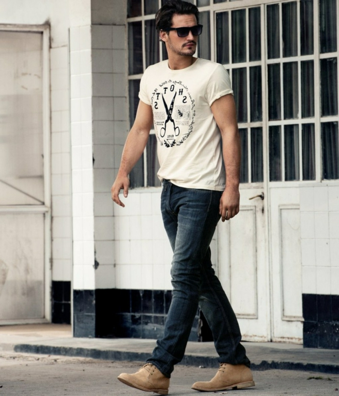t-shirt in white, with black print, worn with dark jeans, by man in sunglasses, casual clothes for men