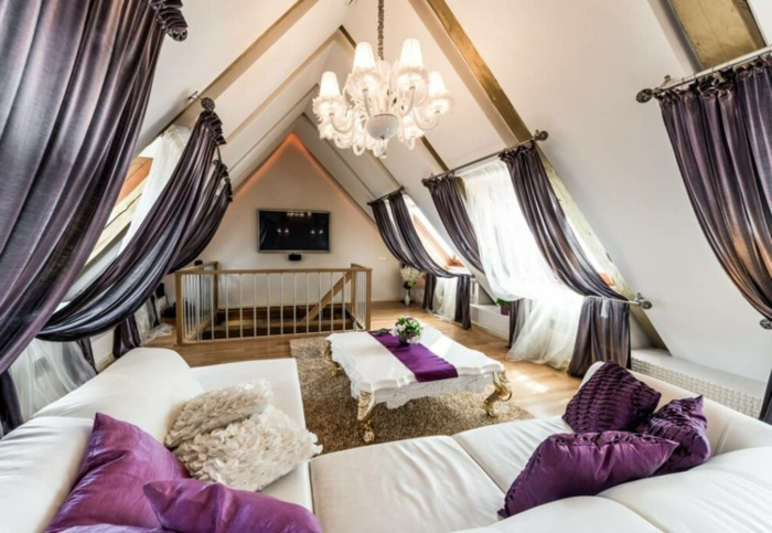 window treatment ideas, attic livingroom with six windows, decorated with white and violet curtains, white sofa and table
