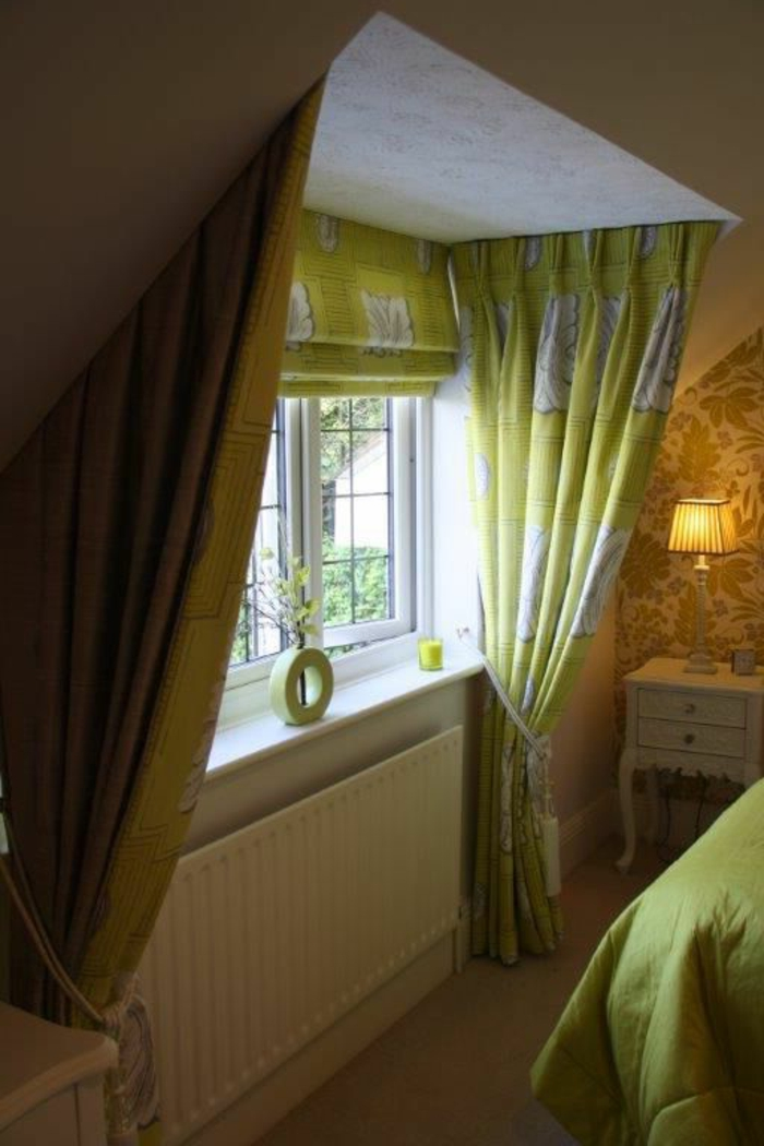 curtains ideas, bedroom with patterned wallpaper, window with light green and white curtains, tied with decorative ropes, bed with green spread