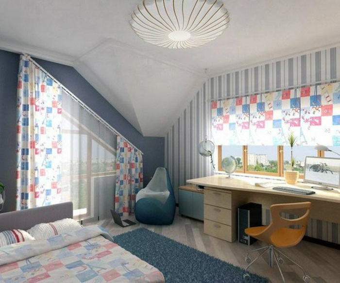 bedroom curtains, child's bedroom with desk and bed, two windows with blue and red patterned curtains