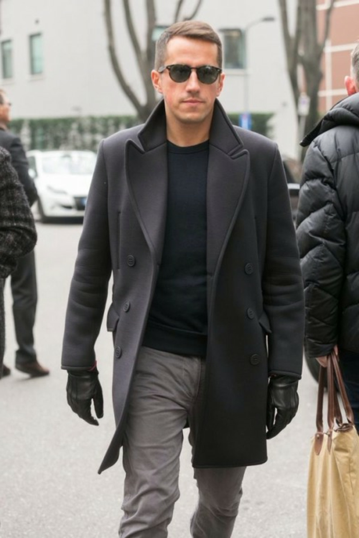 winter coat in black, over black jumper, business casual dress code, worn with black leather gloves, grey trousers and sunglasses
