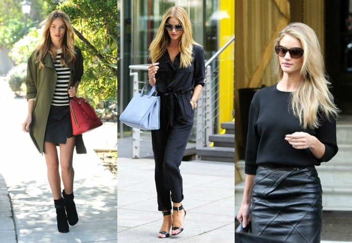business casual for young women, blonde woman in three different outfits, green parka with striped top and black mini skirt, black jumpsuit and heels, and black sweater with leather mini skirt