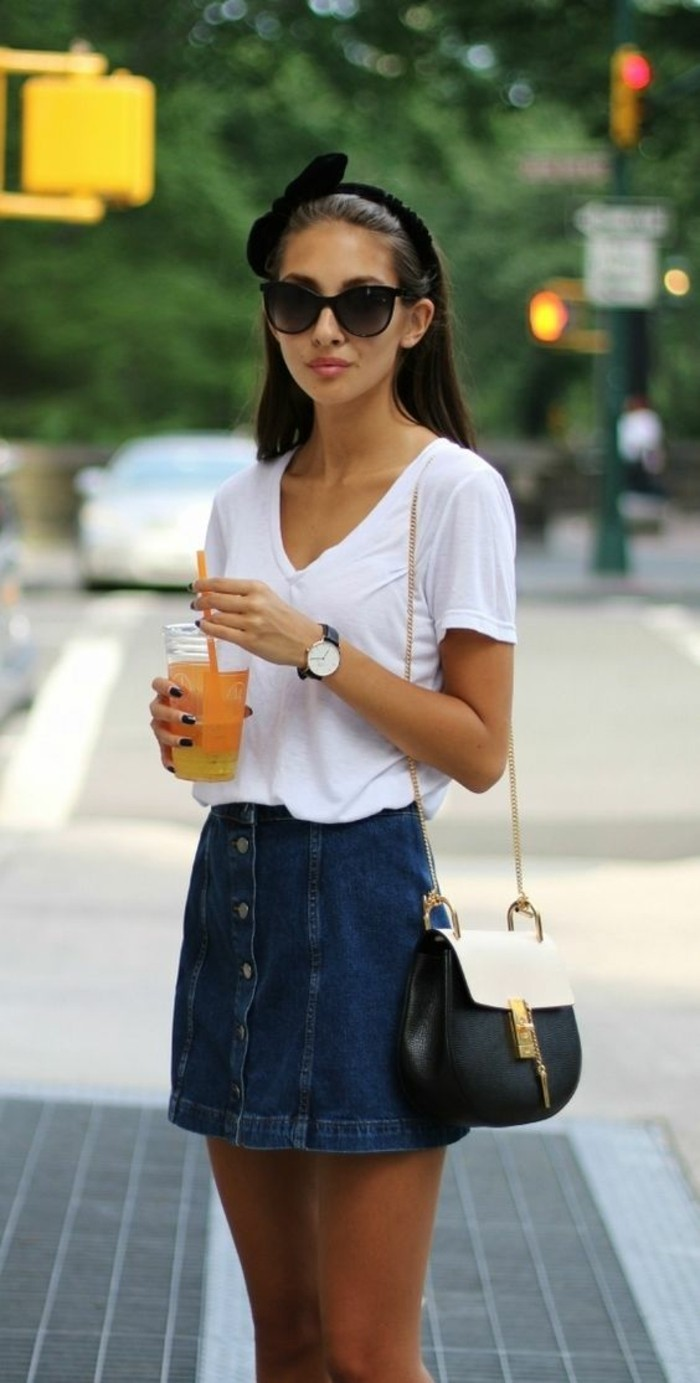 fabulous button up skirt outfit ideas 7