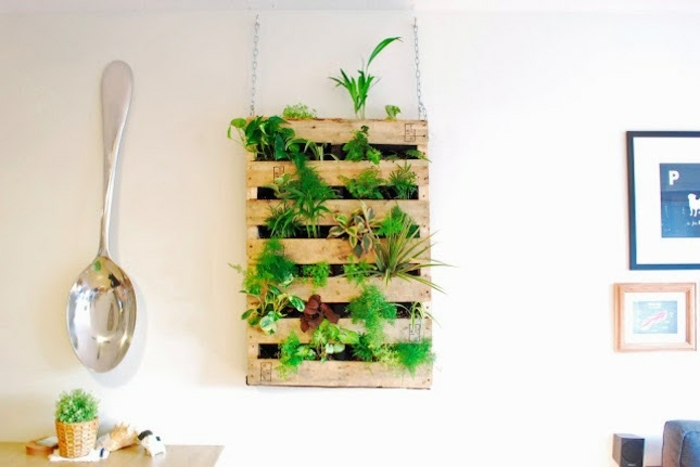 wooden rack hanging from white wall, contaning many different kinds of green potted plants, easy arts and crafts, large silver spoon decoration nearby