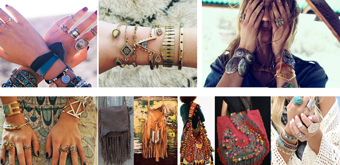 nine photos showing different bohemian fashion accessories, lots of rings, delicate gold and silver bracelets, chunky metal bangles, turquoise decorated items, bags with tassels and embroidery