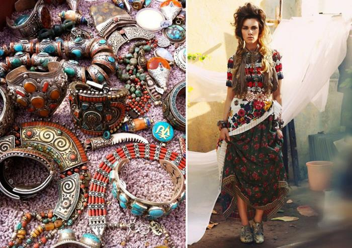 turquoise and other stones, set in necklaces and bracelets, engraved metal plates, beads and ornaments, woman in bohemian fashion floral maxi skirt, and multicolored jumper