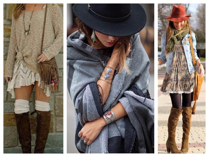 side-tied beige jumper, with tiered mini skirt, over-the-knee socks and brown suede boots, large black hat and grey shawl, mini floral dress, with denim jacket and tights