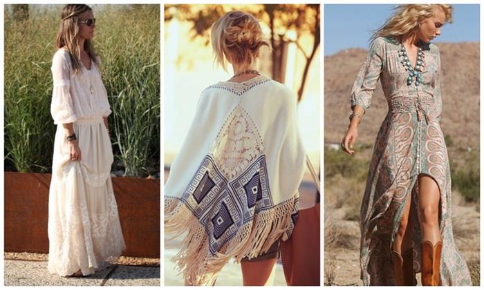 examples of bohemian style clothing, white lace maxi dress with sleeves, embroidered poncho with tassels, maxi dress with front slit, and pale pattern