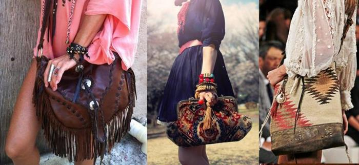 boho fashion bags, crossbody dark brown leather bag with tassels, multicolored oversized carpet clutch, and a tribal embroidered shopper