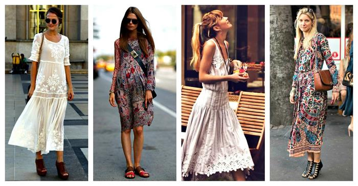 calf-length embroidered white dress, bohemian style midi dress, with floral pattern, grey embroidered lace dress, multicolored maxi dress, with indian pattern