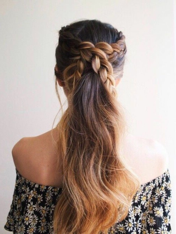 long wavy hair, medium brown hair color, with dark blonde ombre effect, and two crossing braids, worn by woman in black, off-the-shoulder dress, with white daisy print
