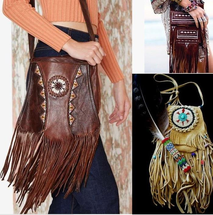 tasseled brown shoulder bag with embroidery, worn by woman in dark jeans and orange sweater, native american style bag in beige, dark brown stitched bag with tassels, bohemian fashion