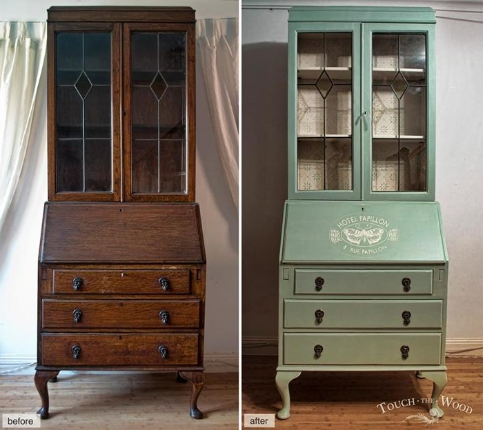 before and after photo, showing dark brown wooden dresser, repainted in pastel turquoise, and decorated with a white graphic