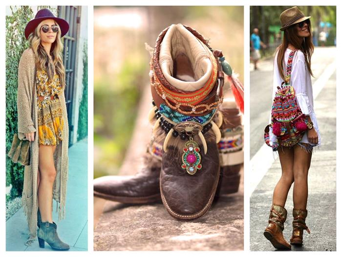 sunglasses and large, boho fashion felt hat, worn with oversized beige cardigan, and yellow patterned dress, brown ankle boots with tribal decorations, white shirt and an embroidered rucksack