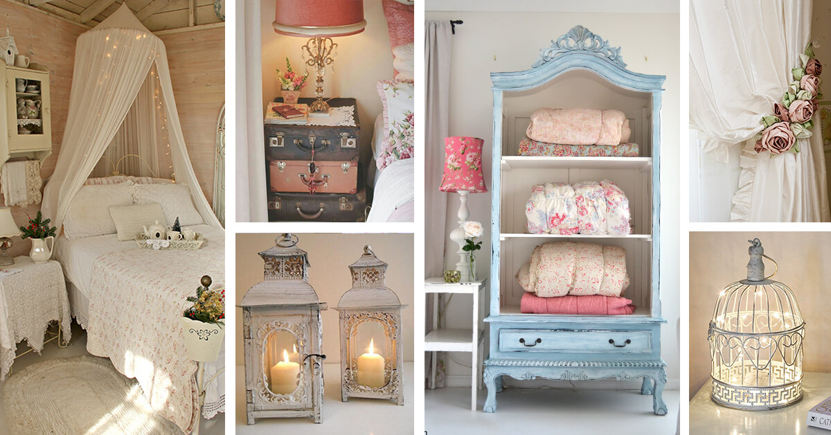 white vintage bed with baldachin, vintage suitcases and two rustic lanterns, shabby chic furniture and decorations