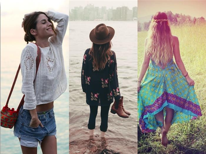 young woman in white, broderie anglaise blouse, and denim shorts, boho clothing, brunette girl with oversized black floral sweater, blonde woman in green maxi dress
