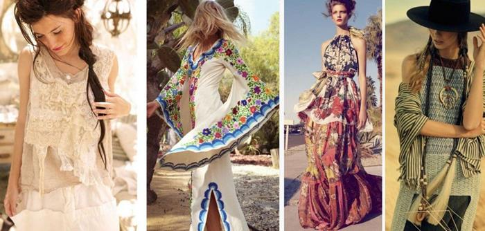 four examples of boho fashion, cream frilly lace outfit, white maxi dress with bell sleeves and colorful embroidery, tiered maxi dress, large black hat, shawl and accessories