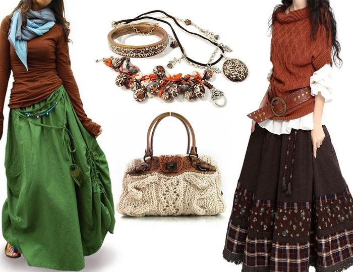 two maxi skirts, in green decorated with beads and an ostrich feather, and in brown with patterned fabric inserts, worn with brown tops, pale blue shawl, vintage wide brown belt, crochet knit bag, assorted jewelry