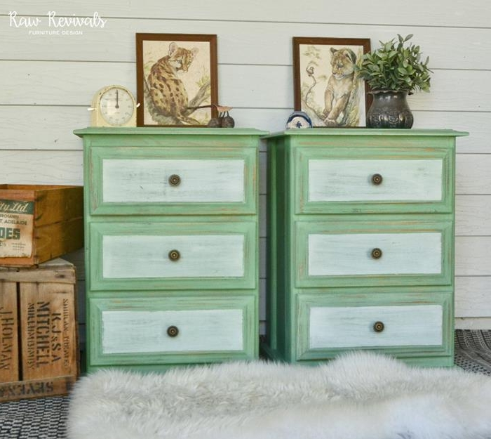 country cottage furniture, two pale green and white identical cupboards, with three drawers each, antique renovated style, artworks and decorations
