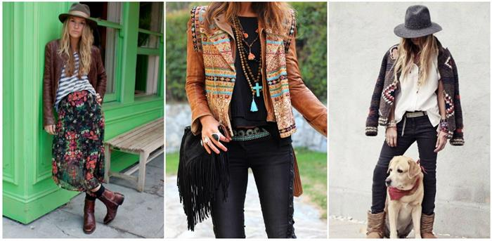 striped top and floral maxi skirt, worn with hat and leather jacket, embroidered biker jacket in orange, dark brown leather jacket, with colorful decorations, bohemian style looks