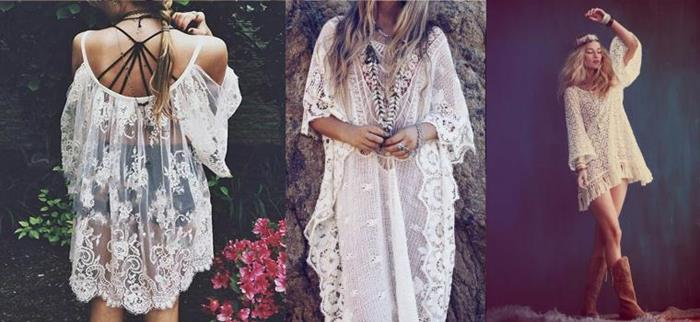 three white lace looks, off-the-shoulder floaty top, long maxi dress with wide sleeves, tiered mini dress with long bell sleeves